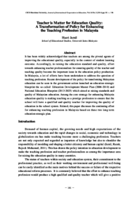 Teacher is matter for education quality a transformation of policy teacher is matter for education quality a transformation of policy for enhancing the teaching profession in malaysia malvernweather Image collections